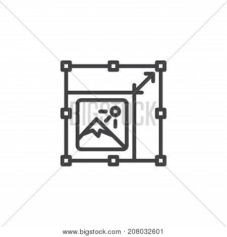 Resize picture line icon, outline vector sign, linear style pictogram isolated on white. Symbol, logo illustration. Editable stroke