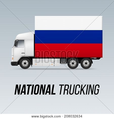 Symbol of National Delivery Truck with Flag of Russian Federation. National Trucking Icon and Russian flag