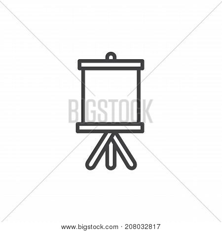 Easel with canvas line icon, outline vector sign, linear style pictogram isolated on white. Symbol, logo illustration. Editable stroke