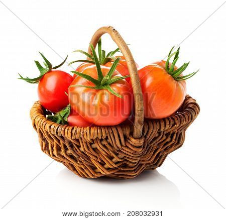 fresh red tomato on a white background