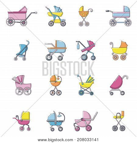 Baby carriage icons set. Cartoon illustration of 16 baby carriage vector icons for web