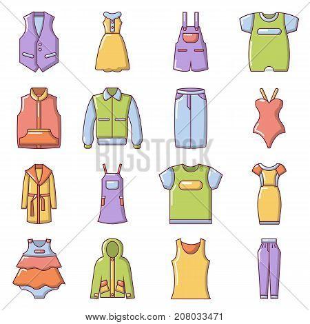 Fashion clothes wear icons set. Cartoon illustration of 16 fashion clothes wear vector icons for web