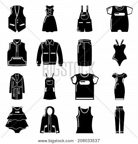 Fashion clothes wear icons set. Simple illustration of 16 fashion clothes wear vector icons for web