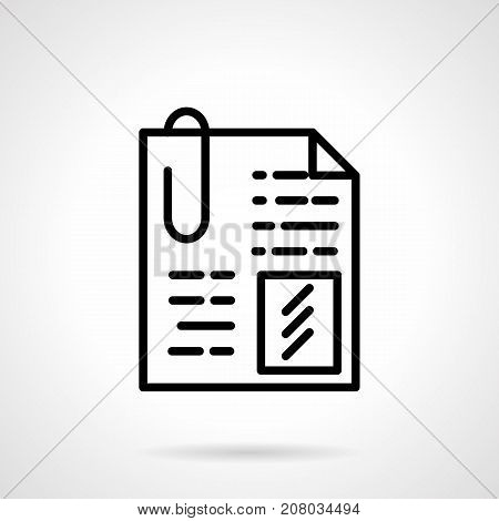 Abstract symbol of document with paperclip. Attached file, office papers, business concept. Black simple line design vector icon.