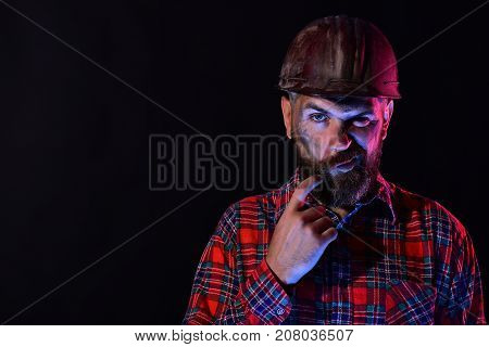 Builder Or Worker With Thick Beard. Guy With Brutal Image