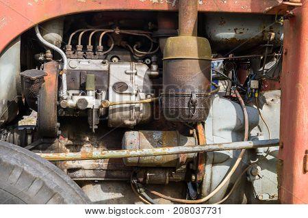 Orebro Sweden 04 September 2017 Ferguson Tractor Engine.