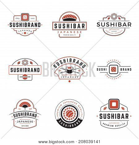 Sushi Shop Logos Templates Set. Vector object and Icons for Sushi Labels or Badges, Japanese Food Logos Design, Emblems Graphics. Sushi Roll Silhouettes, Japan Restaurant Logo, Sea Food Symbols.