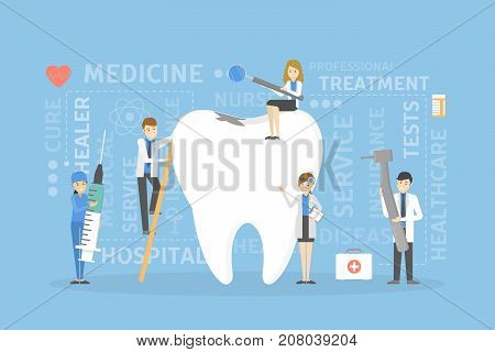 Teeth treatment concept. Dental restoration and hugiene.
