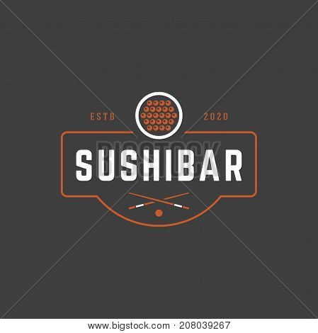 Sushi Shop Logo Template. Vector object and Icons for Sushi Labels or Badges, Japanese Food Logo Design, Emblem Graphics. Sushi Roll Silhouette, Japan Restaurant Logo.