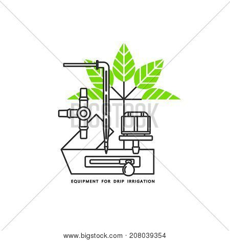 Irrigation icon. Equipment for drip irrigation. Drip tape, droppers, fitting, plant. Vector illustration.
