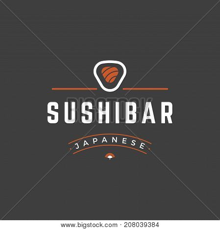 Sushi Shop Logo Template. Vector object and Icons for Sushi Labels or Badges, Japanese Food Logos Design, Emblems Graphics. Sushi Roll Silhouette, Japan Restaurant Logo.