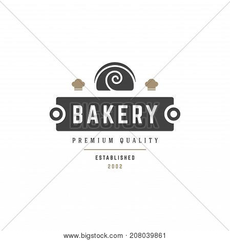 Bakery Shop Logo Template. Vector object and Icons for Pastry Food Label or Badge, Bakery Food Logotype Design, Emblems Graphics. Pie Silhouette, Cafe Logo.