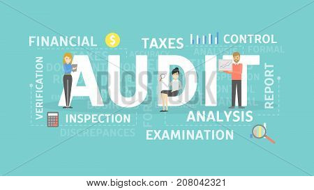 Audit concept illustration. Idea of taxes, examination and control.