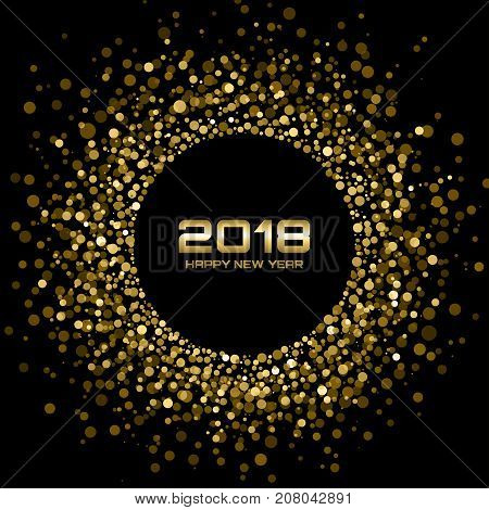 Vector  Happy New Year 2018 Card Background. Gold Bright Disco Lights Halftone Circle Frame. Golden Round border using halftone circle dots raster texture.