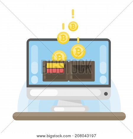 Virtual bitcoin wallet on the computer screen.