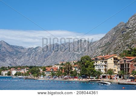 MONTENEGRO, KOTOR - AUGUST 13, 2017: Kotor Bay view of the coast and the beaches of the city Adriatic Sea