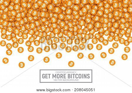 Vector 3D Digital Cryptocurrency Bitcoin Orange Flat Icons Abstract Conceptual Illustration Isolated on White Background. Design Elements for Web, Internet, Business, Trading, Commerce, Sales, Deals