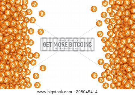 Vector 3D Digital Virtual Cryptocurrency Bitcoin Orange Flat Icons Abstract Conceptual Illustration Isolated on White Background. Design Elements for Web, Internet, E-Business, E-Commerce, E-Finance