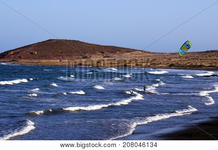 El Medano windsurfing and kitesurfing beach in south coast of Tenerife,Canary Islands,Spain.Travel,sport and vacation concept.