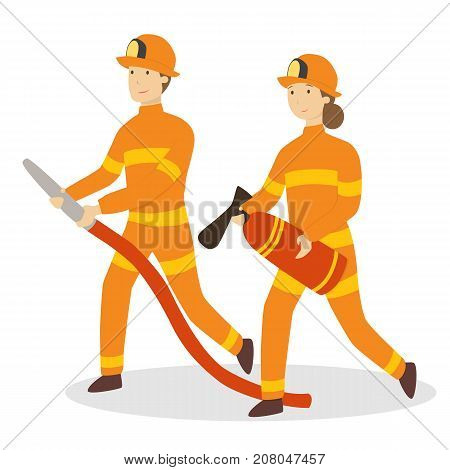 Isolated firefighters couple with axe and hose on white background.