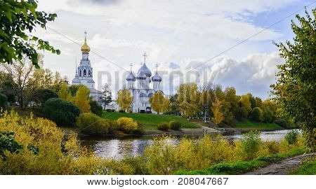 Sophia Cathedral and bell tower in the city of Vologda. Russia