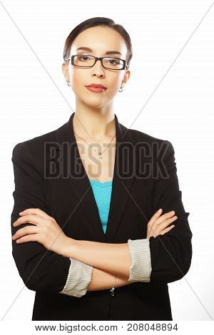 business woman in glasses, close up, isolated on white background