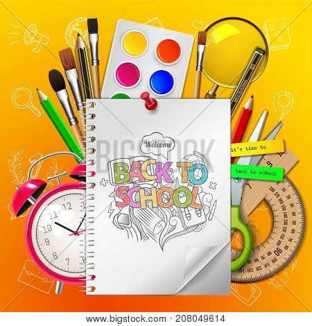 Welcome back to school with supplies doodle on yellow background, vector illustration.