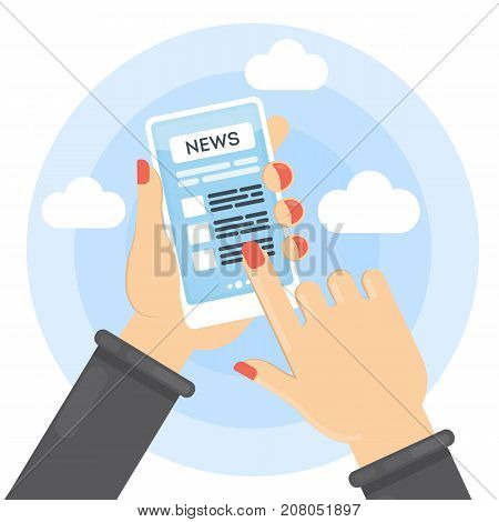 News on smartphone. Female hands holding device with breaking news.
