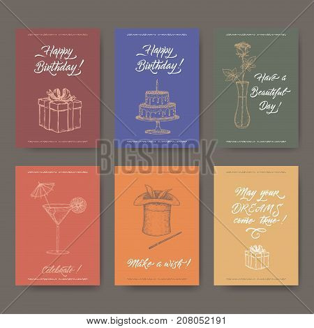 Set of six bright A4 format vintage birthday cards with calligraphy, gift, cake, flower, cocktail and magic hat hand drawn sketch. Great for holiday design.