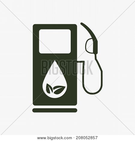 Gas station with leaves vector icon. Eco fuel symbol.