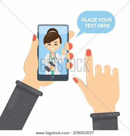 Doctor in smartphone. Idea of remote consultation with doctor.