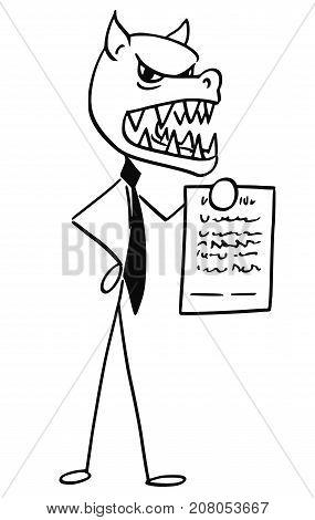 Cartoon Illustration Of Bad Evil Business Man With Fox Wolf Head