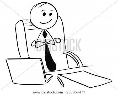 Happy Satisfied Businessman Boss Sitting With Arms Crossed