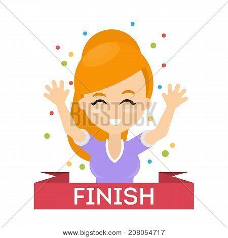 Sport woman finish. Happy smiling woman finishing the race.