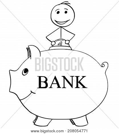 Smiling Man Inserting Coin In To Piggy Bank