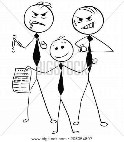 Smiling Businessman With Two Dangerous Guys Offering Unfair Agreement