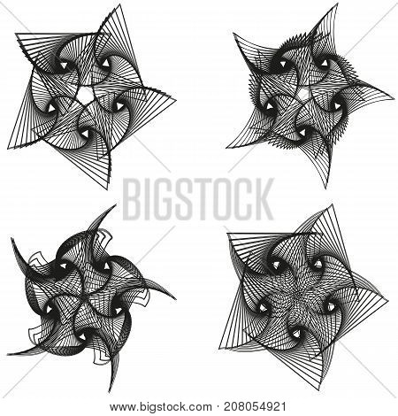 Set of abstract geometric spirograph background. vector illustration. EPS10