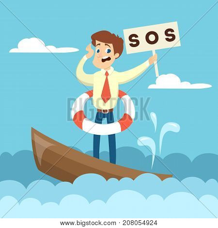 Sinking business boat. Man on boat with sos sign.