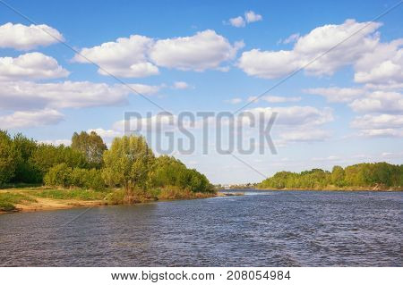 View of Oka river (Volga tributary) in the Ryazan region. Central Russia