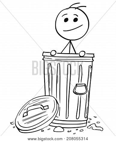 Smiling Man Poking Out Of The Dustbin Garbage Can