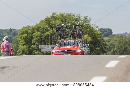 Mailleroncourt-Saint-Pancras France - July 5 2017: The technical car of Bahrain-Merida Team approaching on a road to La Planche des Belle Filles during the stage 5 of Tour de France 2017.