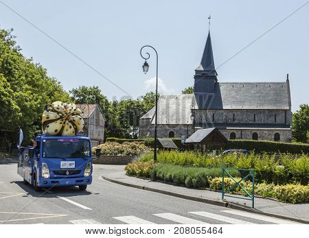 Sainte Marguerite sur Mer France - July 09 2015: Cornetto Vehicle during the passing of Publicity Caravan before the stage 6 of Le Tour de France 2015 on 09 July 2015. Banette is the leading brand for the artisan bread in France.
