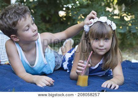 Little Boy And  Girl Friendship