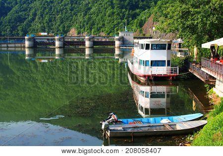 CACAK, SERBIA - June 02, 2017: River Zapadna Morava in Serbia near the town Cacak, Europe