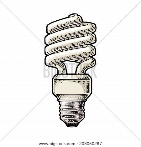 Energy saving spiral lamp. Vector vintage color engraving illustration on white background