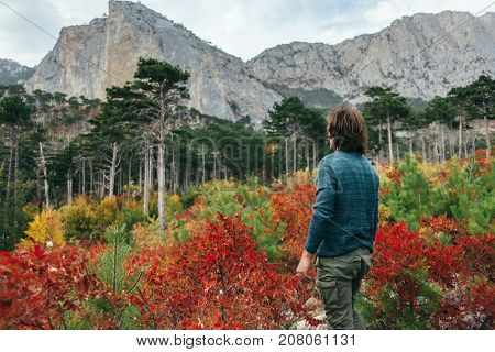 Back view of traveler man wearing sweater standing alone in autumn woods and looking at mountain hill. Cold weather, fall colors. Wanderlust concept.