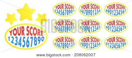 Your score. Game score with all numbers for mobile app. Elements for game design. Vector illustration.