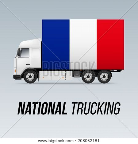 Symbol of National Delivery Truck with Flag of France. National Trucking Icon and French flag