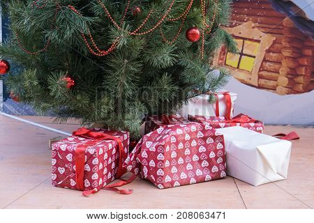 Many Different Gift Box Under New Year Tree