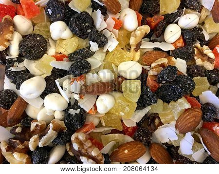 yogurt ambrosia mix background of trail mix